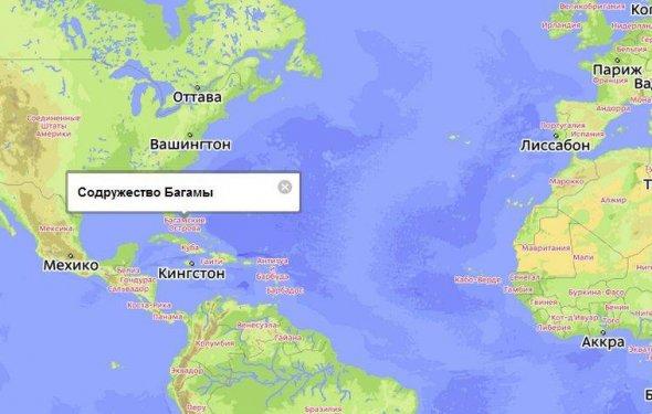 Багамские Острова на карте