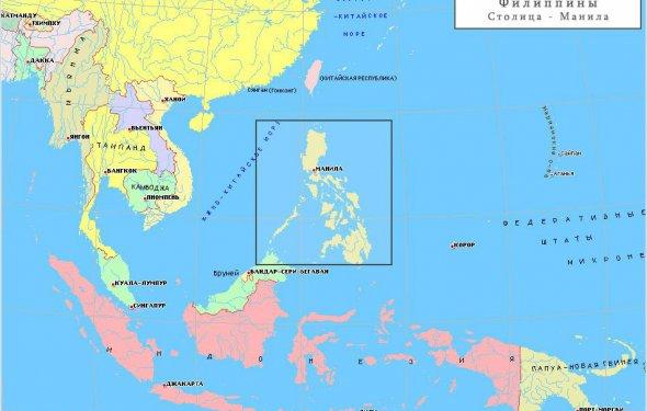 Филиппины на карте Азии